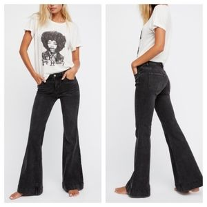 Free People Black Wide Leg Denim Jeans Size 27